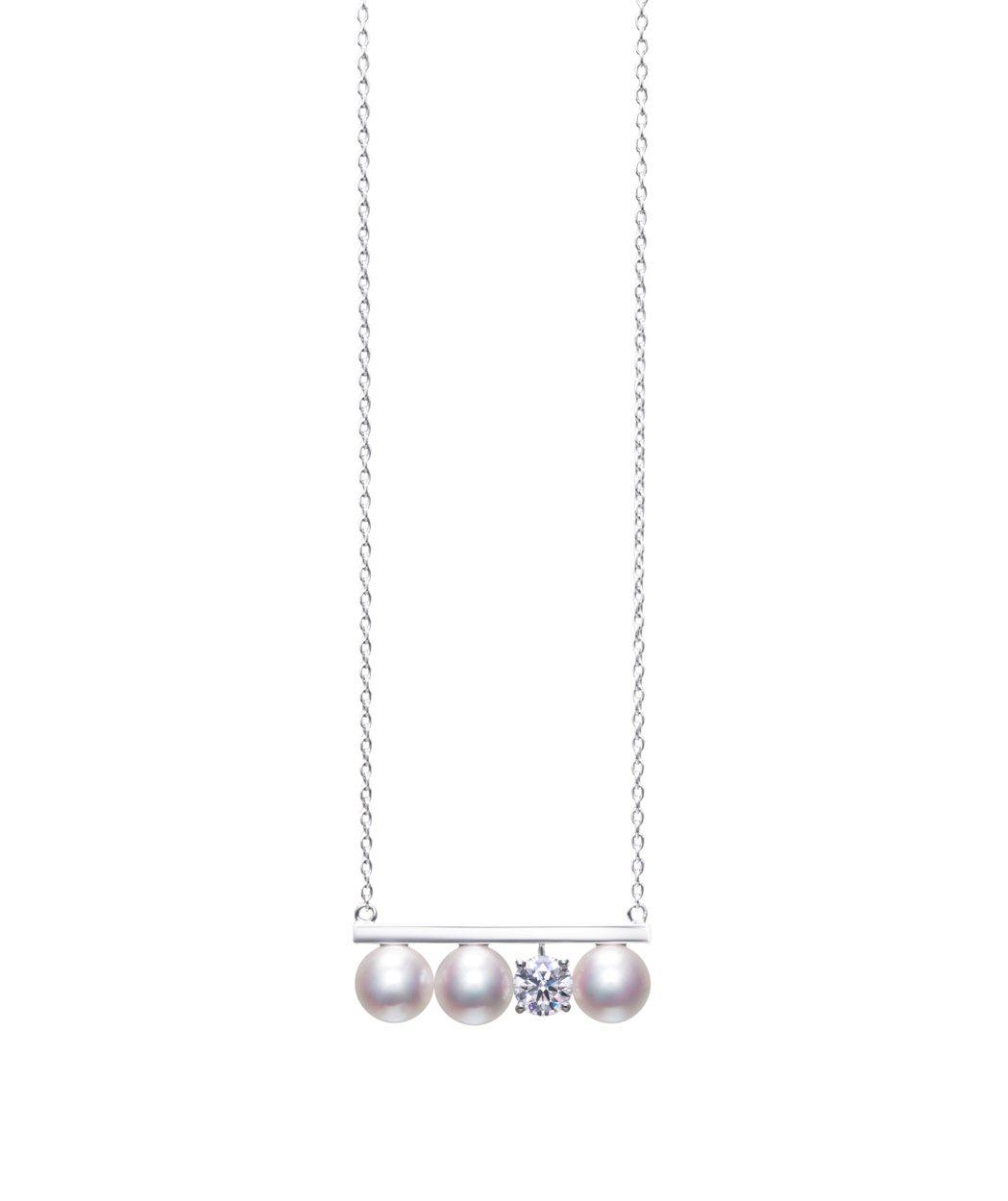 TASAKI balance diamonds solo鑽石珍珠白K金項鍊,29...