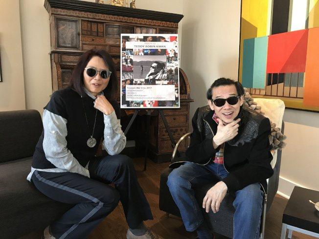 泰迪羅賓(右)說,感謝當年一趟台灣行時,因為眼睛受傷浮腫而不得不戴墨鏡登台,卻因...