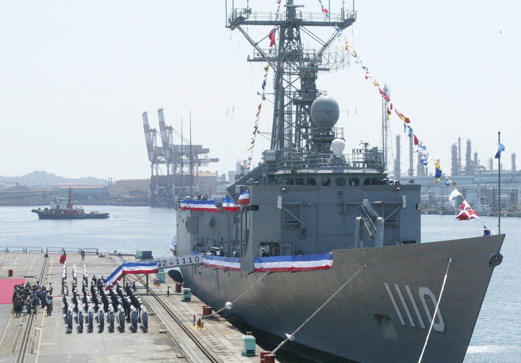 中船建造完成的「田單號」飛彈巡防艦,是海軍「光華一號」建軍計畫中的最後一艘。 圖...