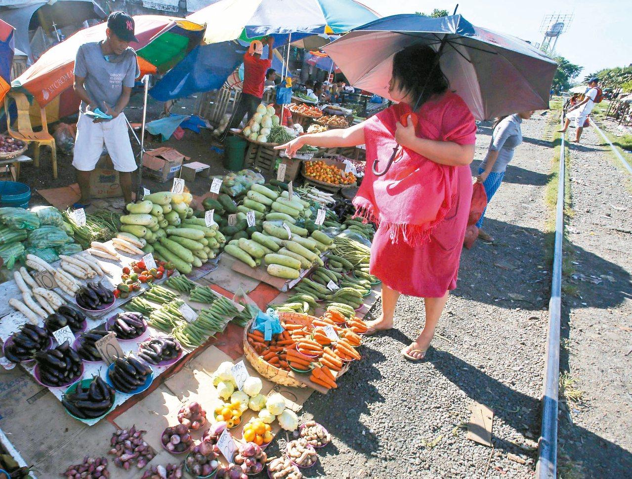 圖為馬尼拉南部一處鐵路市場。 歐新社