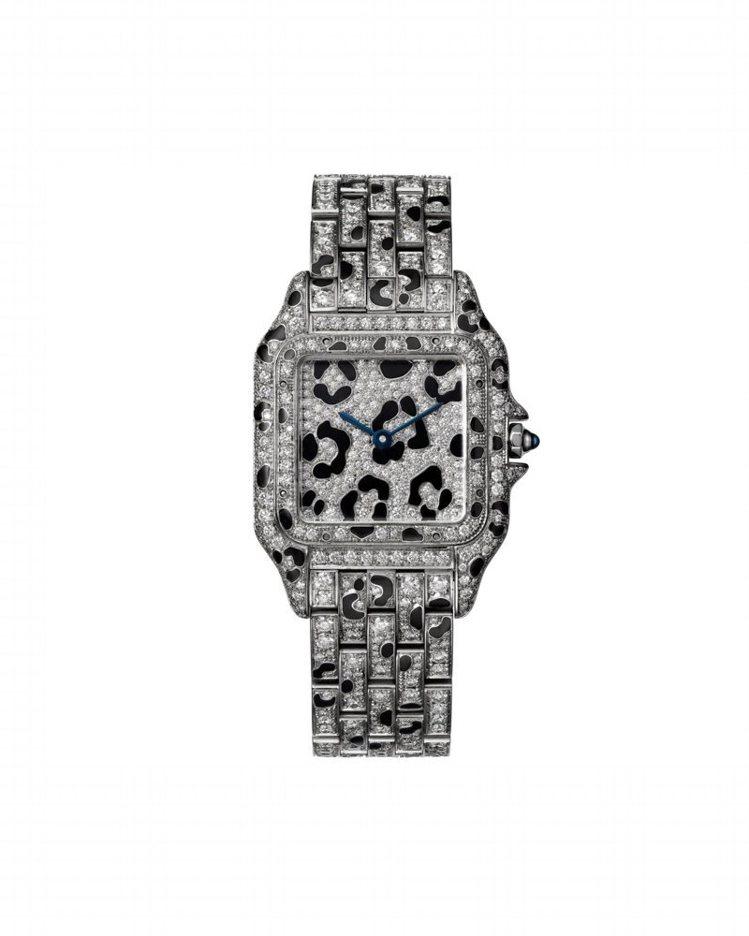 卡地亞Panthere de Cartier美洲豹白金豹斑紋鑽石腕表(中型款),...