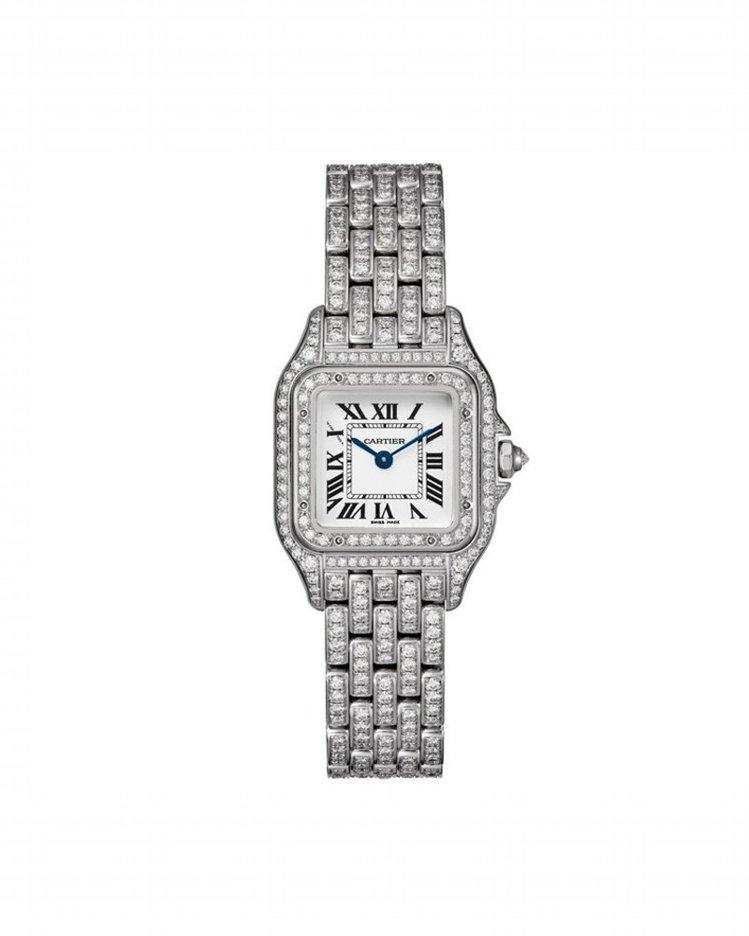 卡地亞Panthère de Cartier美洲豹白K金全鋪鑲鑽石腕表(小型款)...