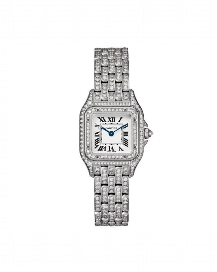卡地亞Panthère de Cartier美洲豹白K金鑽石腕表(中型款),表圈...