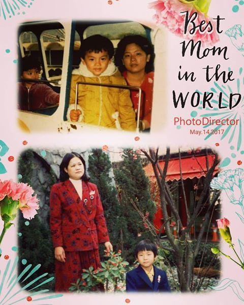 阿翔也貼出小時候母子合照。圖/取自浩角翔起笑一個