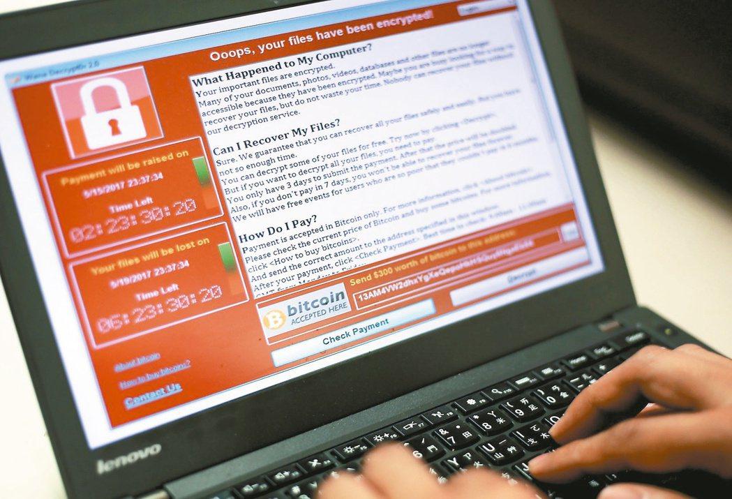 勒索病毒軟體在全球肆虐,外媒報導台灣名列第4大重災區。 歐新社