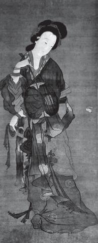 宋朝徐崇矩「仕女撲蝶圖」裡的女性。