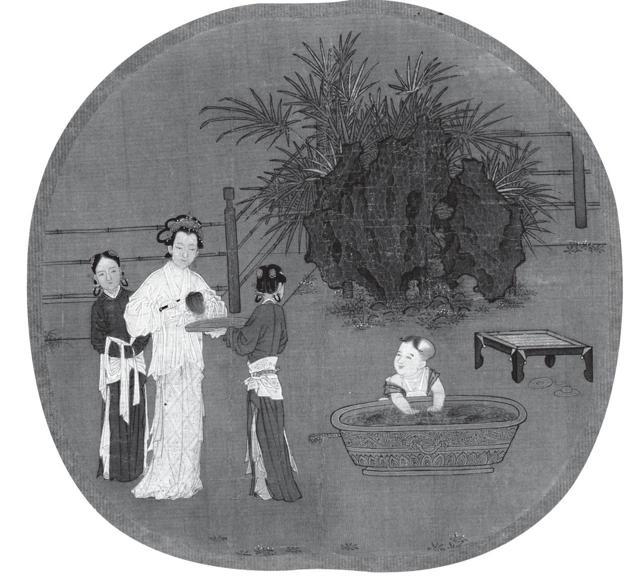 宋朝劉松年「宮女圖」上的女性。
