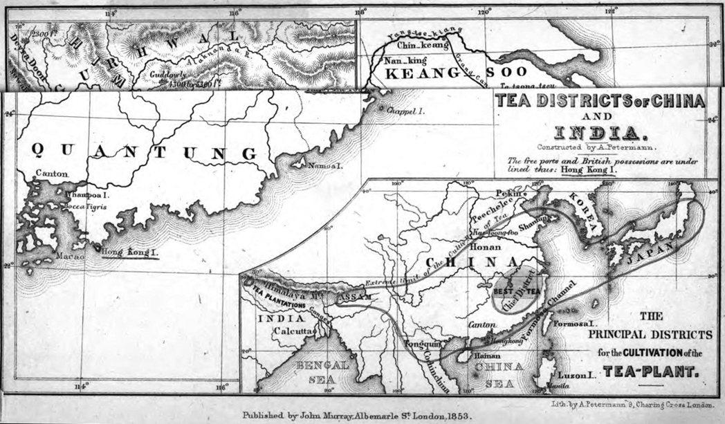1853年Robert Fortune出版的亞洲茶區分佈圖。圖/國立臺灣歷史博物...