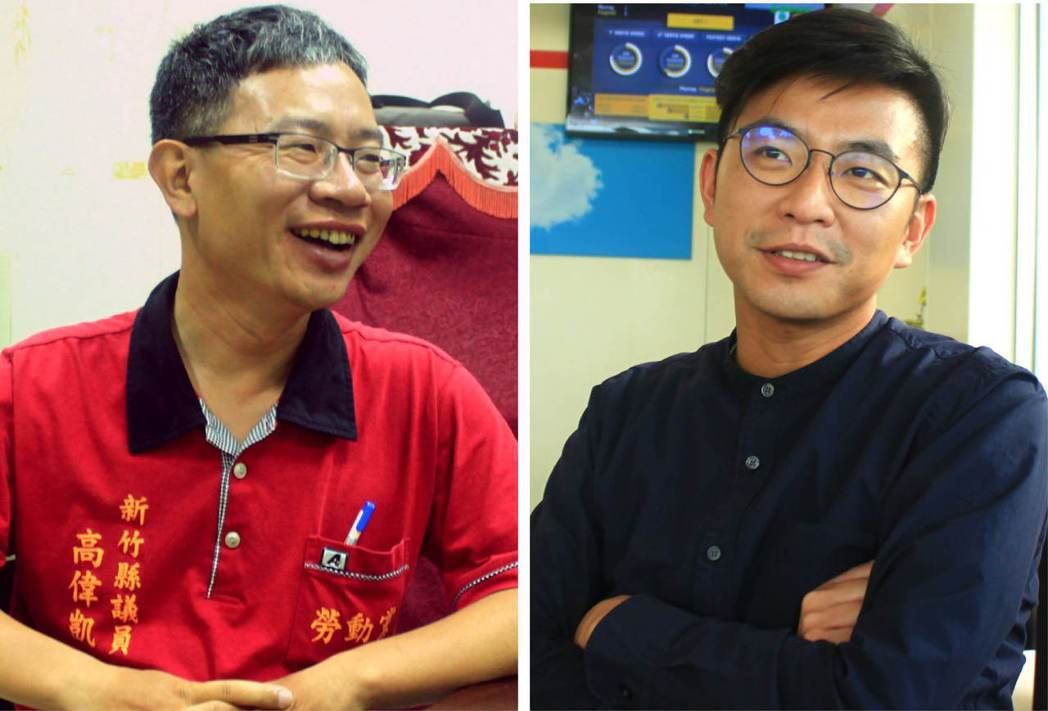 勞動黨高偉凱(左)、綠黨周江杰(右)在議會宣布「辭職」,為竹縣政壇投下震撼彈。 ...