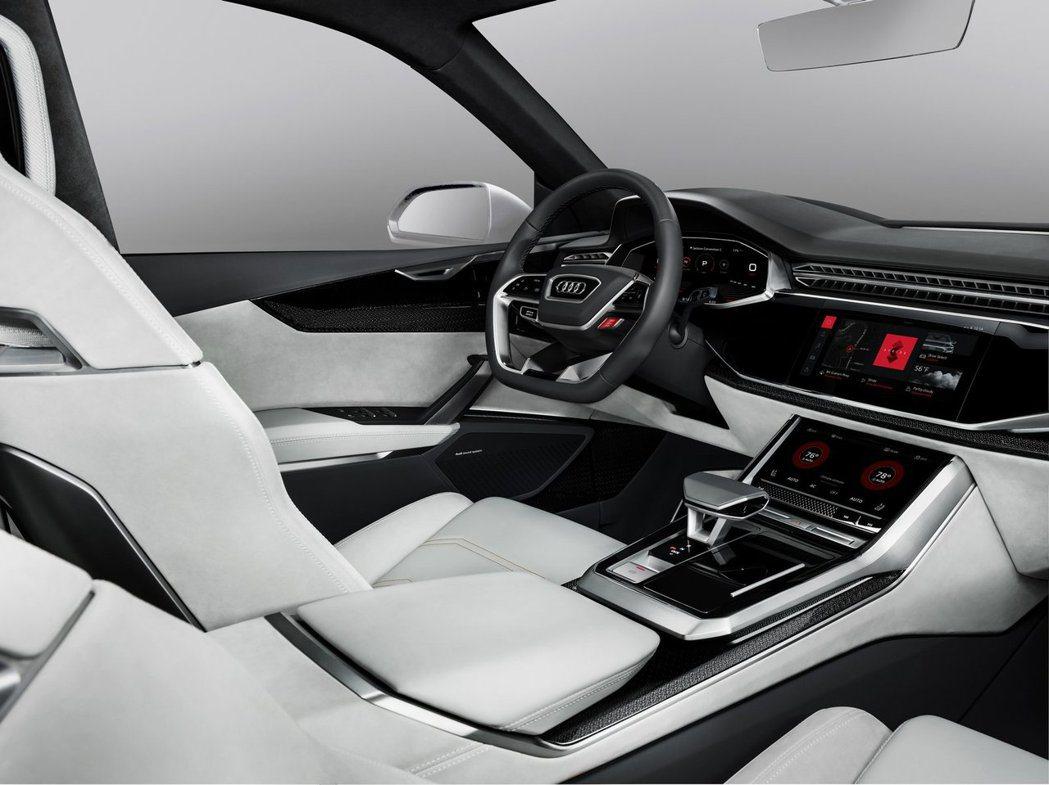 Audi Q8 Sport Concept與Google合作,搭載Android平台。圖/摘自carscoops.com