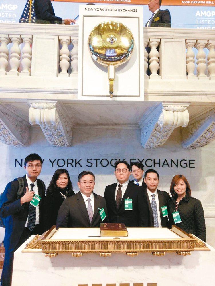 元大投信總經理劉宗聖(右四)帶領團隊參訪紐約交易所,左三是執行副總黃昭棠。 元大...