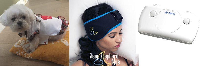 寵物健康穿戴衣/助眠腦波帽/寰碩身心狀態分析儀產品。 神念科技/提供