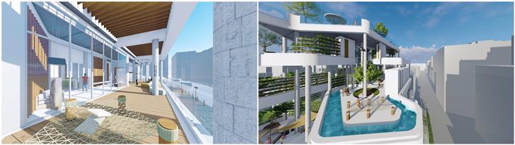 都市露營建築設計,將入口大廳以透明化的方式,強調內部和都市之間的差異(左圖);而...