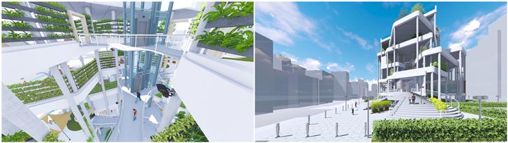 都市露營建築室內空間,則以大量的植栽裝飾室內,強調都市中綠色植物存在的意義;建築...