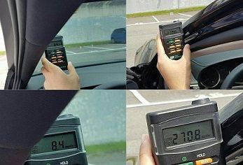 汽車貼冰酷隔熱紙A9系列,TES-1333太陽能測試儀車內外測試,車外、車內因隔...