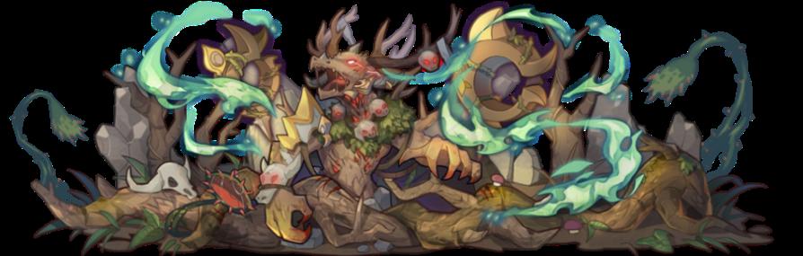 神色猙獰的強大魔物─蠻巖葬神․奈羅巴,其藤蔓毒霧將令來者失去方向。