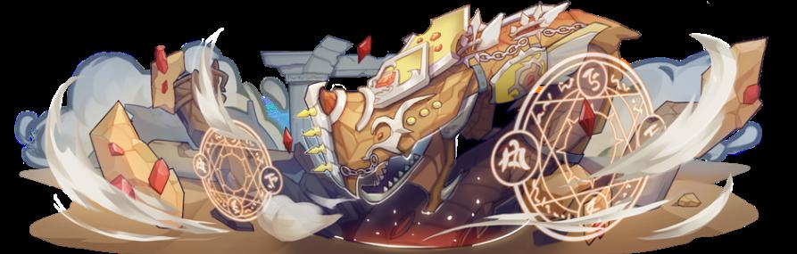 黃沙中不停咆嘯的魔物─噬境餮神˙洛克洛肯,將以流沙飛岩吞沒萬物。
