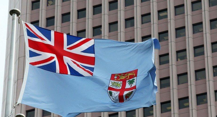 世貿廣場上的斐濟國旗。記者胡經周/攝影