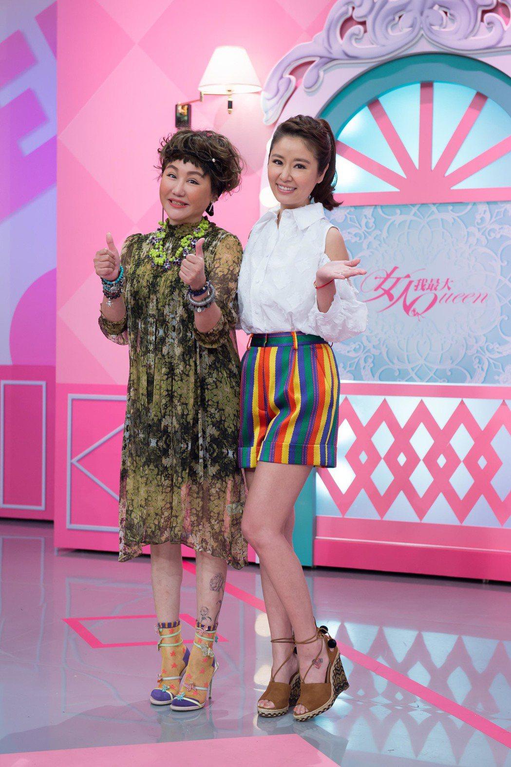 林心如(右)上藍心湄節目,身材姣好的背後,是飲食節制的辛苦。圖/TVBS提供