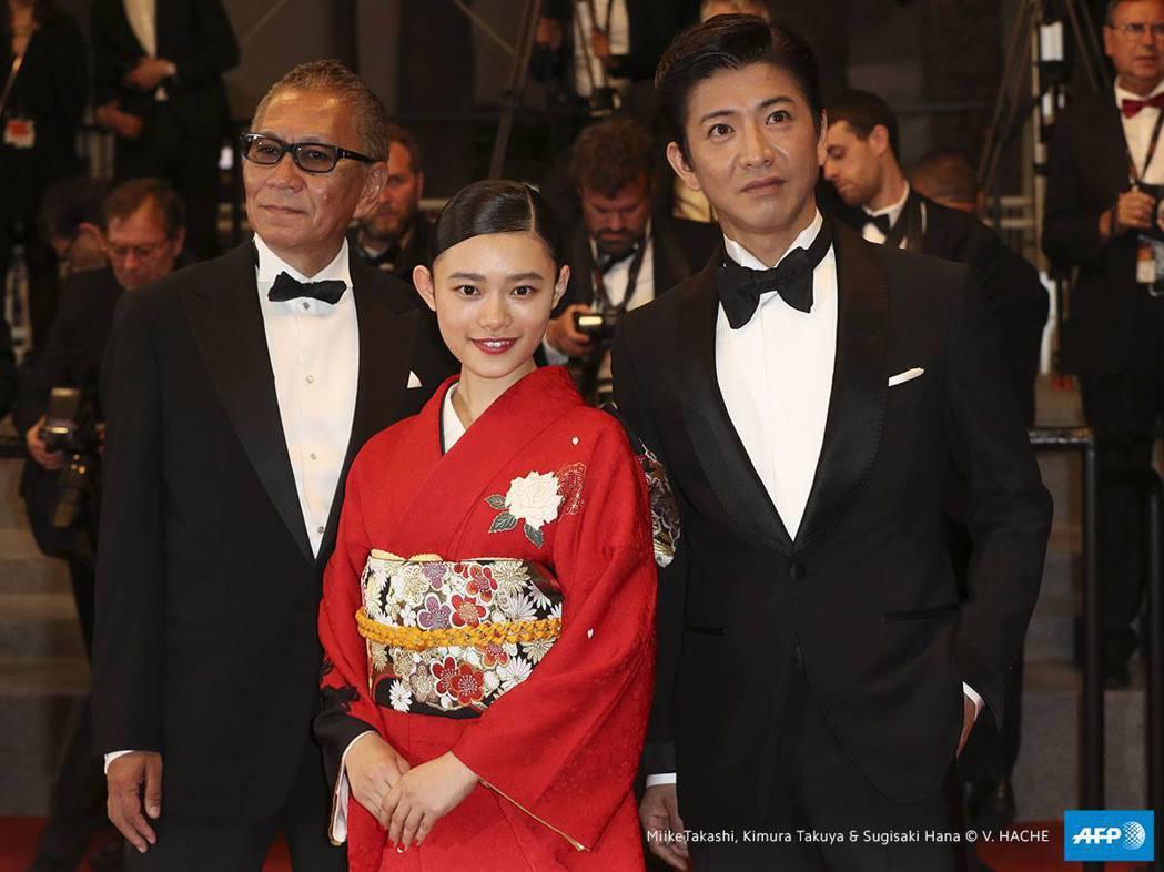 木村拓哉(右起)、杉咲花、三池崇史出席首映會。圖/摘自官方臉書
