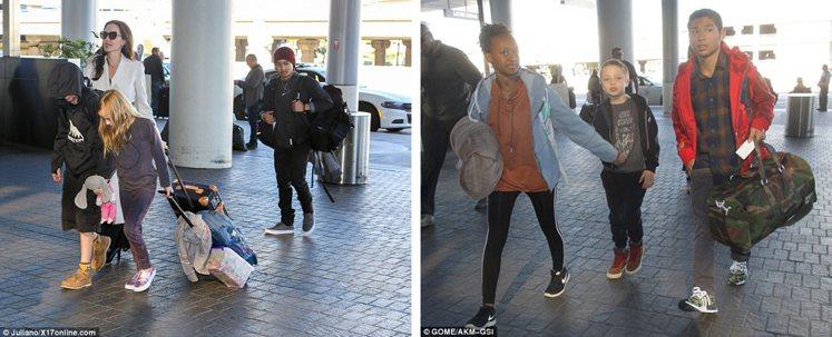 (從左至右)裘莉帶著Shiloh、Vivienne、Maddox、Zahara、...