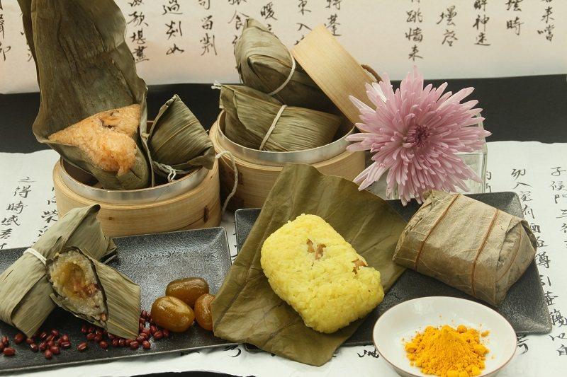 韓式泡菜豬肉粽、老鷹紅豆金棗粽、南洋薑黃雞香干貝粽。 礁溪老爺/提供