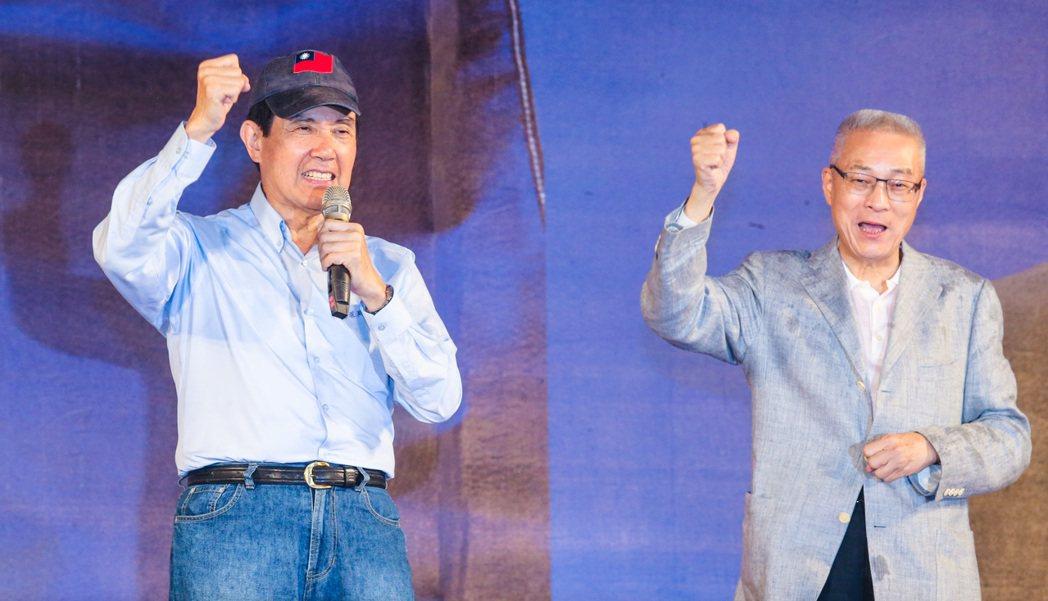 前總統馬英九(左)昨在選前之夜,為吳敦義站台。 記者鄭清元/攝影