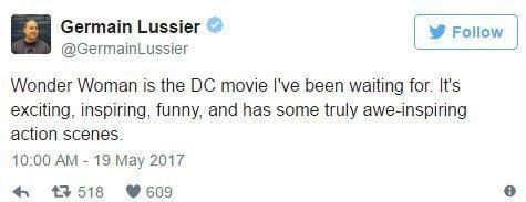 「io9」的記者Germain Lussier則說「神力女超人」就是他一直在等待...