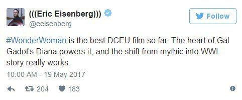 「CinemaBlend」記者Eric Eisenberg說「神力女超人」是DC...