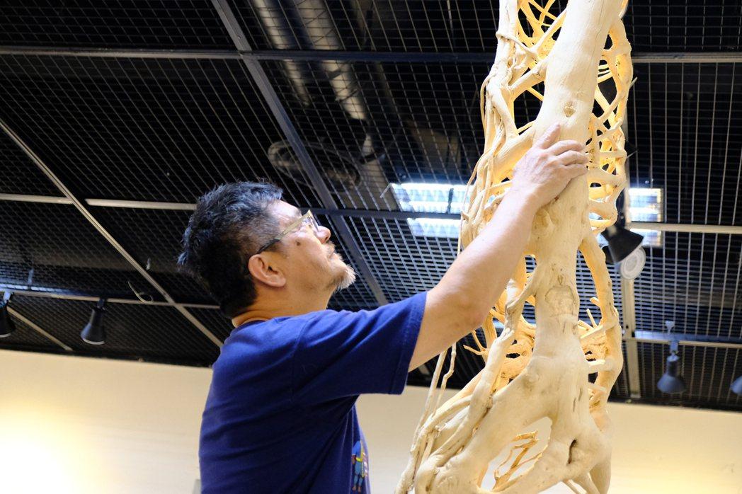 藝術家呂啟光結合彫刻和木作及裝置藝術,搭配了風格各異的燈光。記者郭政芬/攝影