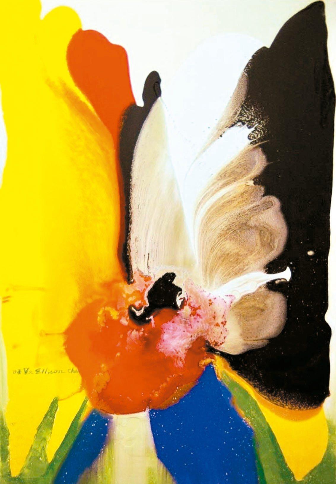 陳歡〈花語〉「空谷回聲──陳歡油畫創作世界巡展」,於台北市中正紀念堂一樓展至...