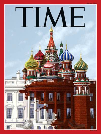 「時代周刊」訂於29日推出的最新一期封面,嘲諷川普總統「通俄門」。(取自時代網站...