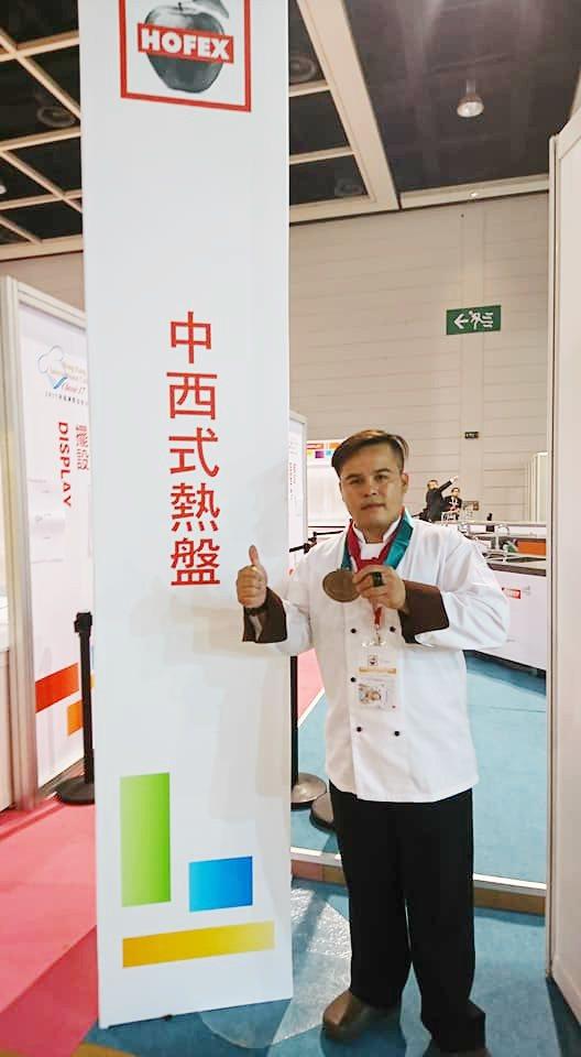 台灣觀光學院廚藝系學生胡志強得到銅牌,準備在花蓮開私房料理餐廳。圖/台灣觀光學院...