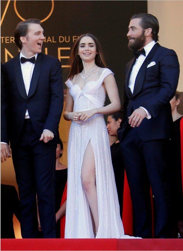 「玉子」3位美國要角保羅丹諾(左起)、莉莉柯林斯、傑克葛倫霍出席坎城首映。(路透