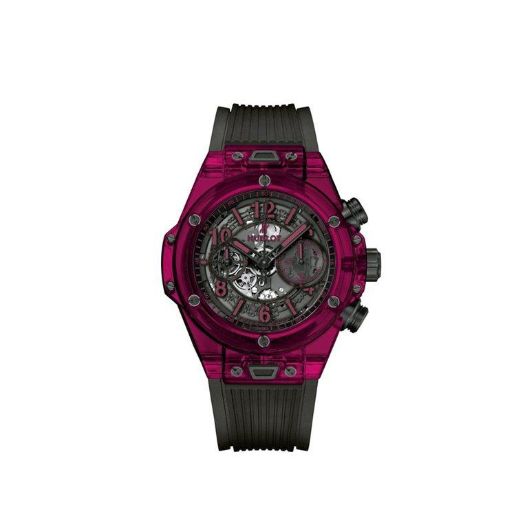 宇舶Big Bang Unico Sapphire紅色藍寶石水晶腕表,搭載HUB...