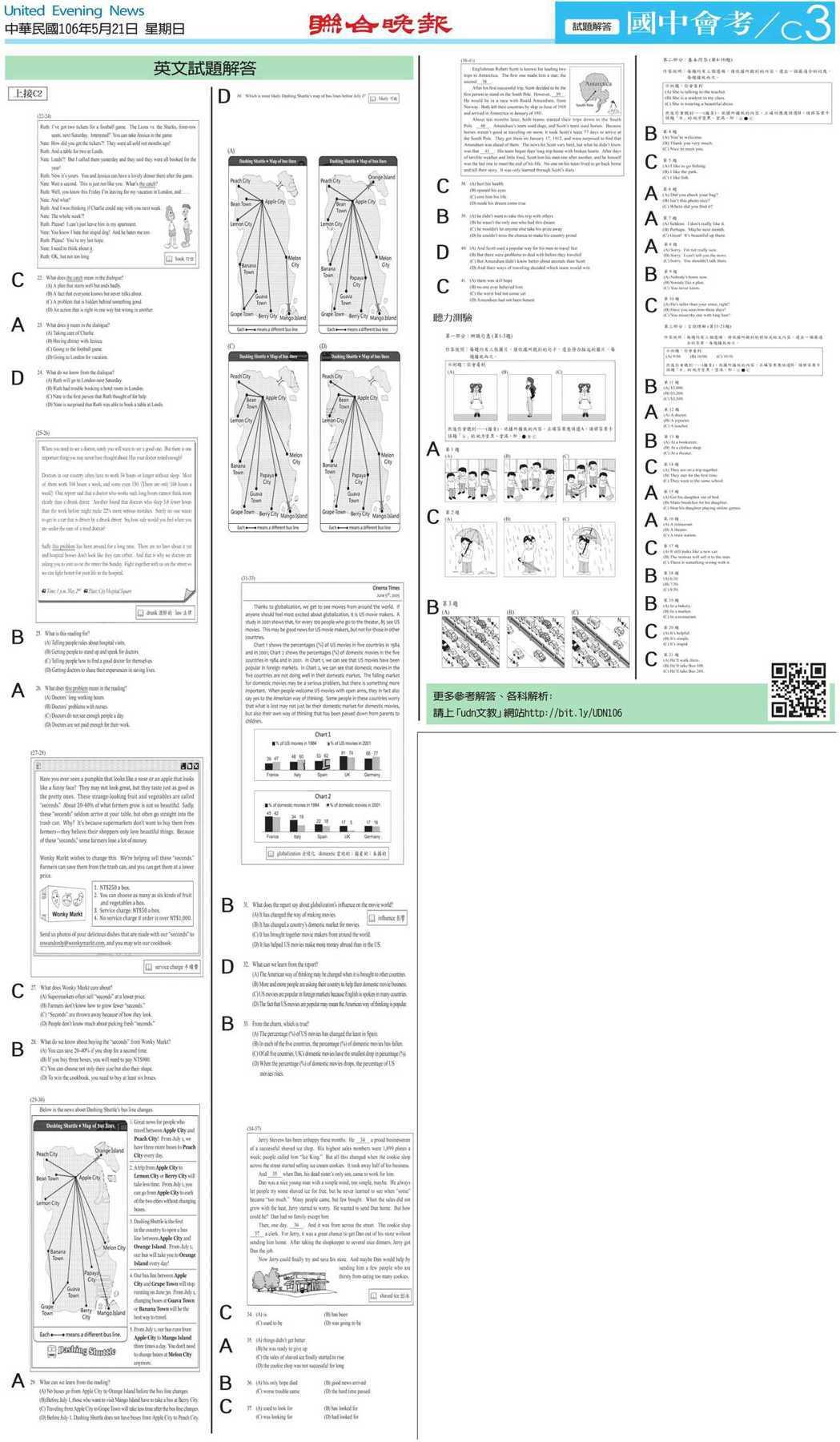 英文科完整解答-2(點我看大圖) 聯合晚報製作