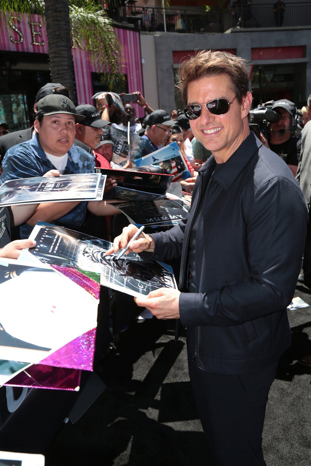 男主角湯姆克魯斯出席好萊塢520「神鬼傳奇」日。圖UIP提供