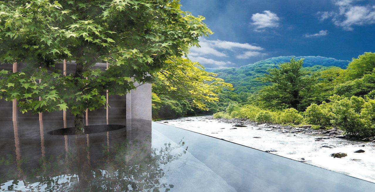 奧入瀨溪流旅館的露天風呂面對滔滔溪水,很有禪意。 記者錢欽青/攝影 圖/業者提供
