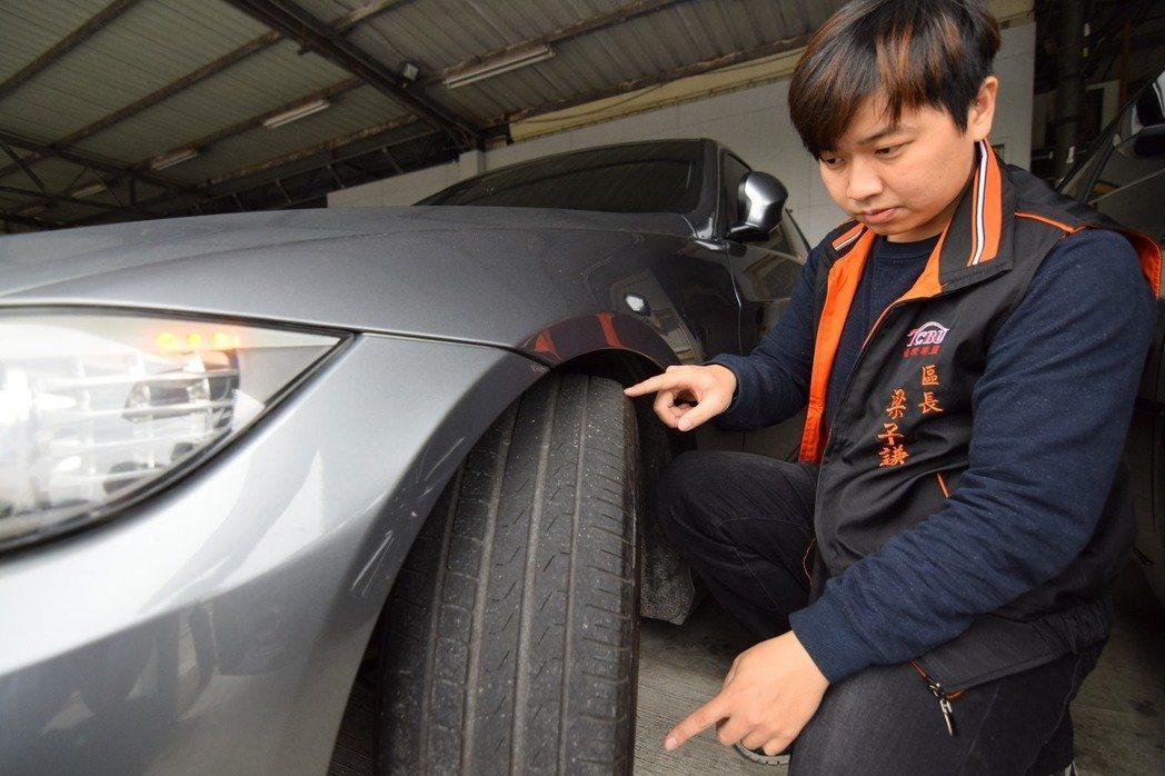 日榮汽車店長梁子謙建議,若是車輛近幾年出廠,卻已更換新輪胎,有可能是高里程數所致,也可成為參考依據。 圖/梁子謙提供