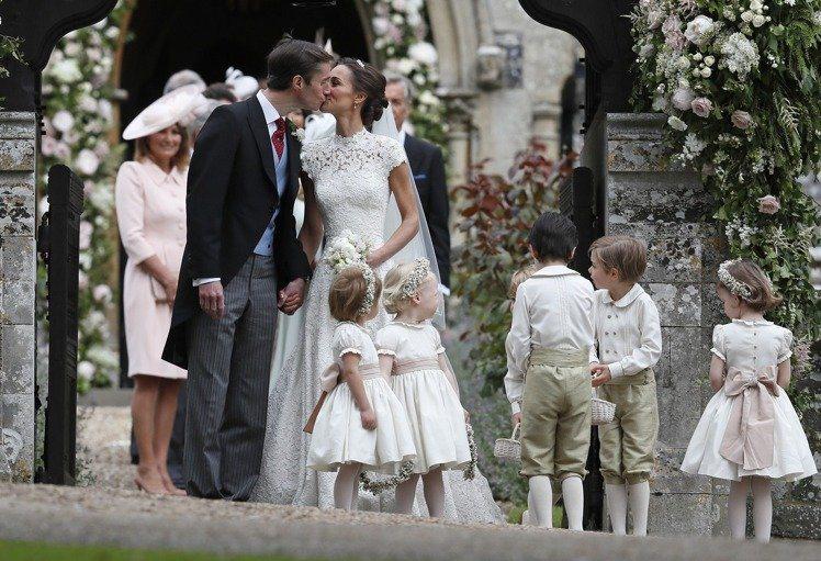 英國凱特王妃的妹妹琵琶密道頓(Pippa Middleton)舉辦婚禮。圖/美聯...