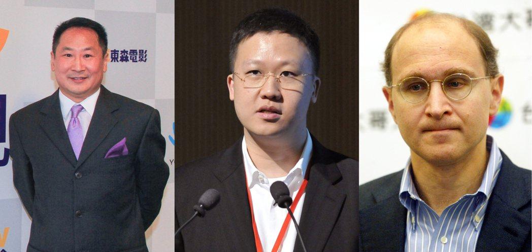 東森電視董事長范瑞穎(左起)、副董事長殷尚龍、董事唐子明。 圖/本報資料照