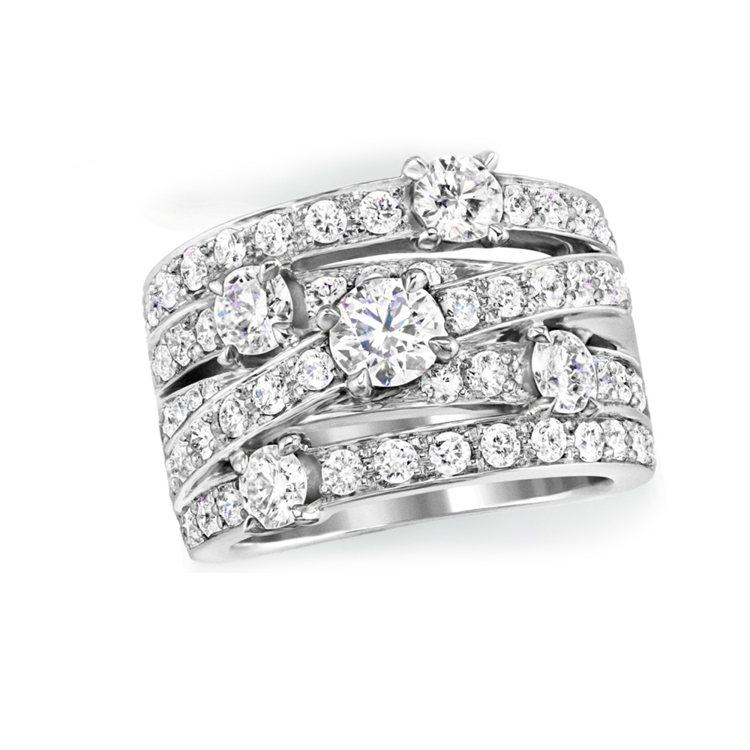 海瑞溫斯頓Crossover鑽石戒指。圖/海瑞溫斯頓提供