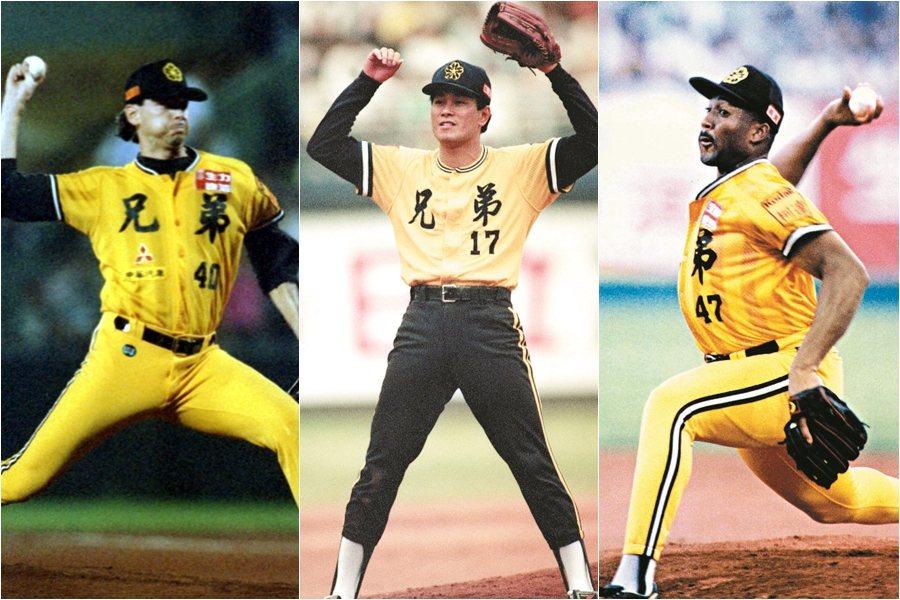 1994年兄弟象的陳義信(中)、巴比諾(右)及克力士三大先發合力拿下50勝,其中...