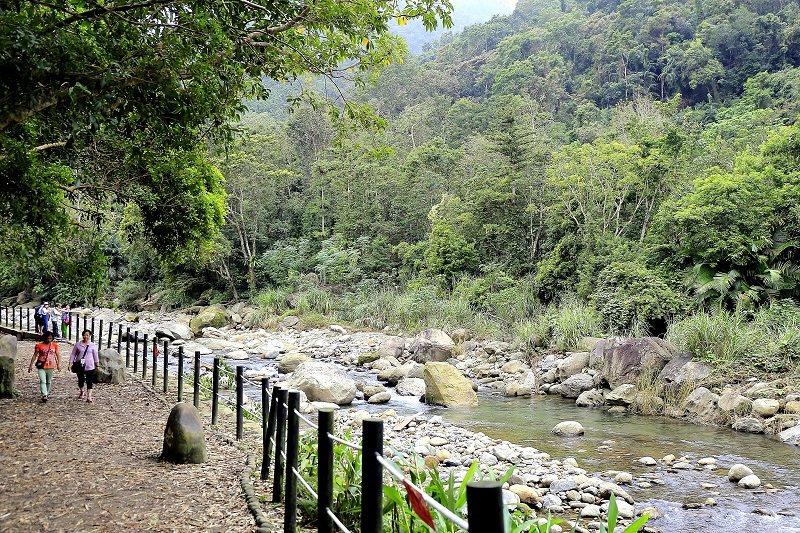 全蓬萊溪護魚步道沿路有潺潺的水聲相伴