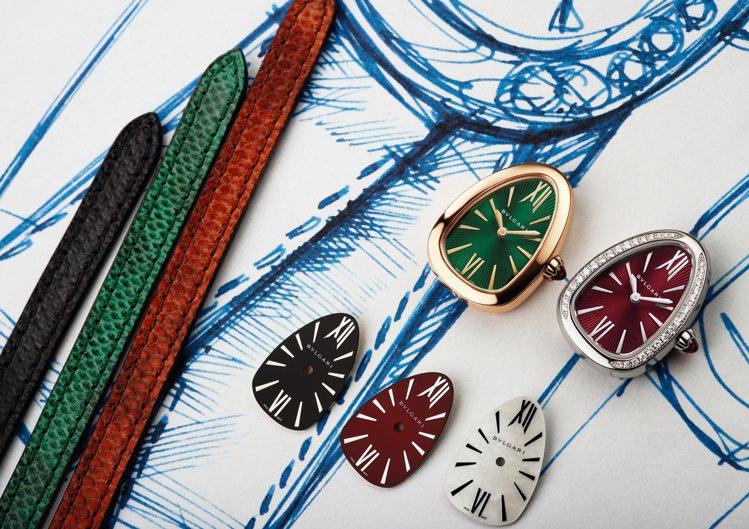 佩戴者可自行選擇喜愛的表殼與表盤,打造出專屬的寶格麗新款Serpenti腕表。圖...