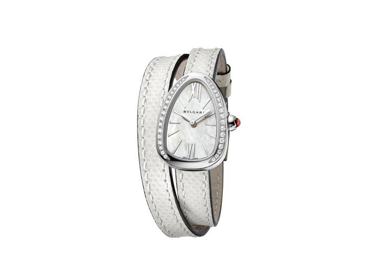 寶格麗新款Serpenti系列白色水蛇皮白金腕表,27毫米弧形表殼鑲鑽表圈,搭載...
