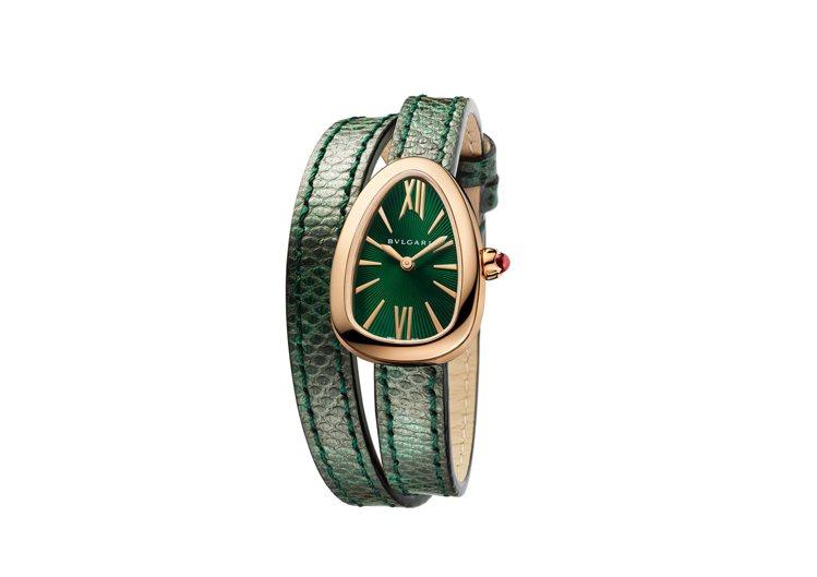 寶格麗新款Serpenti系列綠色水蛇皮玫瑰金腕表,27毫米弧形表殼,防水深度5...