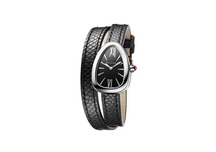 寶格麗新款Serpenti系列黑色水蛇皮白金腕表,搭載自製Caliber B03...