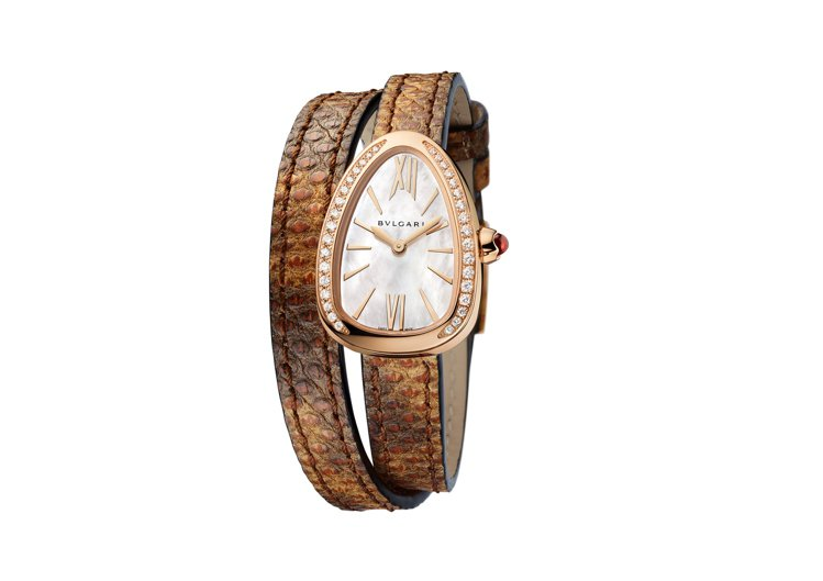 寶格麗新款Serpenti系列栗棕色水蛇皮玫瑰金腕表,27毫米弧形表殼,防水深度...