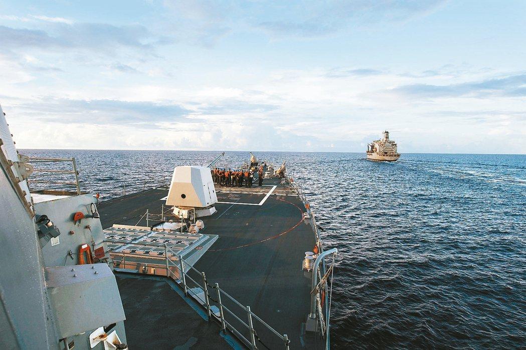 美軍柏克級神盾驅逐艦「杜威號」駛進北京控制的南海美濟礁十二浬水域,十九日在南海進...